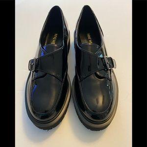 NEW Nine west black Patent buckle over loafer